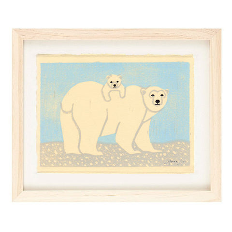 POLAR BEARS HAND-CARVED LINOCUT ILLUSTRATION ART PRINT BY ANNA SEE
