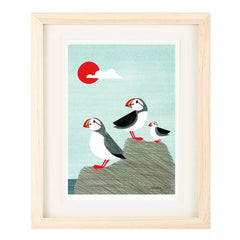 PUFFIN FAMILY ILLUSTRATION GICLEE ART PRINT BY ANNA SEE