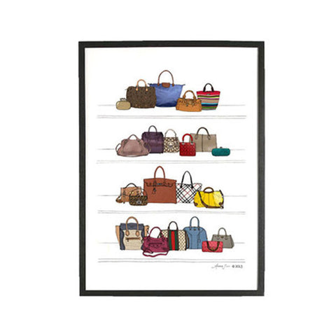 DESIGNER DREAM PURSE AND HANDBAG CLOSET ILLUSTRATION GICLEE ART PRINT BY ANNA SEE