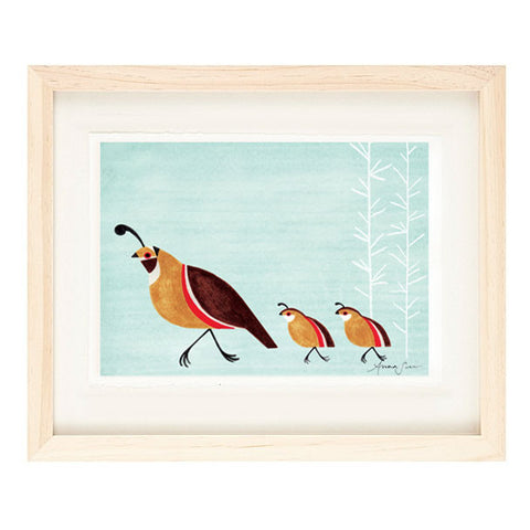 QUAIL FAMILY ILLUSTRATION GICLEE ART PRINT BY ANNA SEE