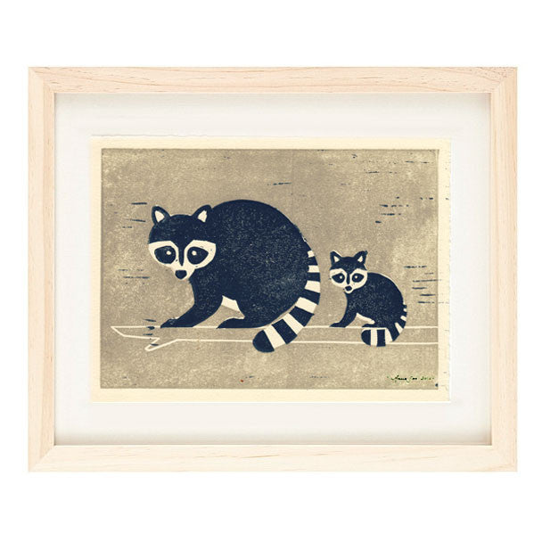RACCOONS HAND-CARVED LINOCUT ILLUSTRATION ART PRINT BY ANNA SEE