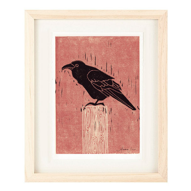 COMMON RAVEN HAND-CARVED LINOCUT ILLUSTRATION ART PRINT BY ANNA SEE
