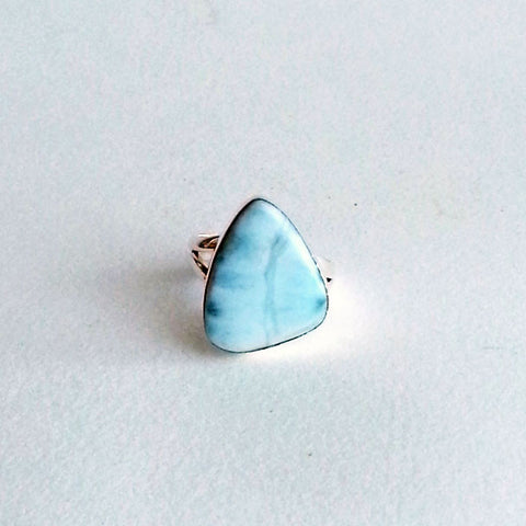 RING: NATURAL LARIMAR TRIANGLE RING, 100% SOLID .925 STERLING SILVER, HANDMADE AND AVAILABLE EXCLUSIVELY AT ANNA SEE