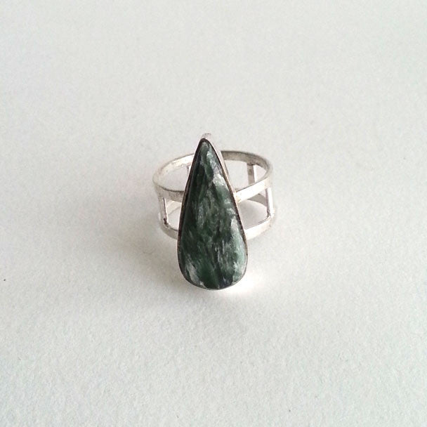 RING: NATURAL SERAPHINITE RING, 100% SOLID .925 STERLING SILVER, HANDMADE AND AVAILABLE EXCLUSIVELY AT ANNA SEE