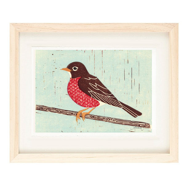 ROBIN HAND-CARVED LINOCUT ILLUSTRATION ART PRINT BY ANNA SEE
