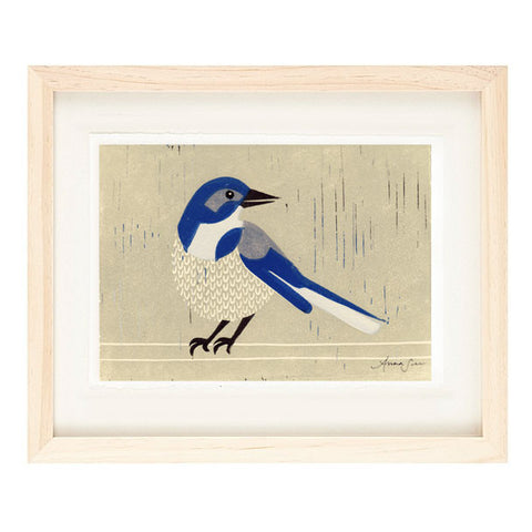 WESTERN SCRUBJAY HAND-CARVED LINOCUT ILLUSTRATION ART PRINT BY ANNA SEE