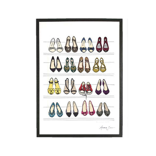 DESIGNER DREAM SHOE CLOSET ILLUSTRATION GICLEE ART PRINT BY ANNA SEE