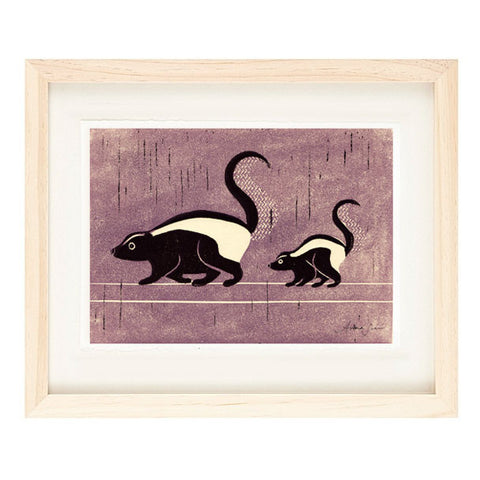 SKUNKS HAND-CARVED LINOCUT ILLUSTRATION ART PRINT BY ANNA SEE