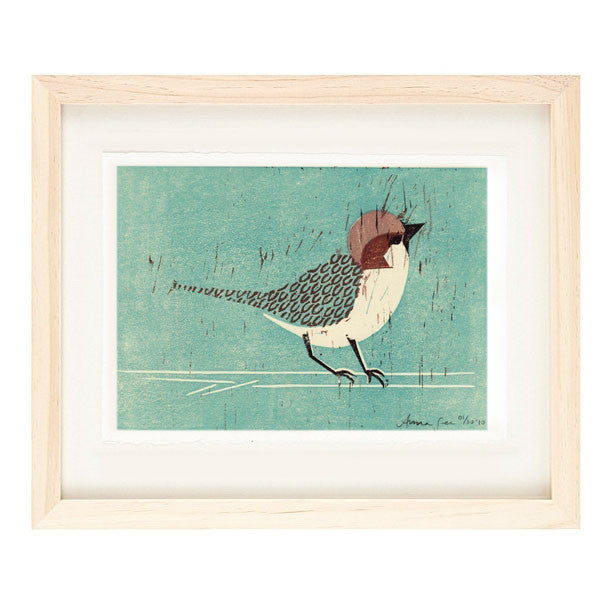 HOUSE SPARROW HAND-CARVED LINOCUT ILLUSTRATION ART PRINT BY ANNA SEE
