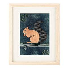 SQUIRREL HAND-CARVED LINOCUT ILLUSTRATION ART PRINT BY ANNA SEE