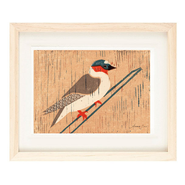 CLIFF SWALLOW HAND-CARVED LINOCUT ILLUSTRATION ART PRINT BY ANNA SEE