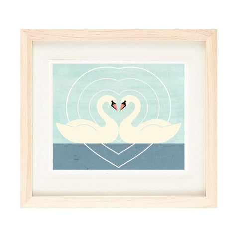 SWAN LOVE ILLUSTRATION GICLEE ART PRINT BY ANNA SEE
