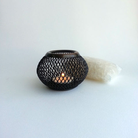 ALL-NATURAL FRAGRANCE CRYSTALS AND ANTIQUED METAL TEA LIGHT BOWL SET, MADE EXCLUSIVELY FOR ANNA SEE