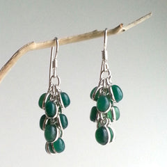 EARRINGS: STATEMENT NATURAL GREEN ONYX DANGLE EARRINGS, .925 STERLING SILVER PLATED, HANDMADE AND AVAILABLE EXCLUSIVELY AT ANNA SEE
