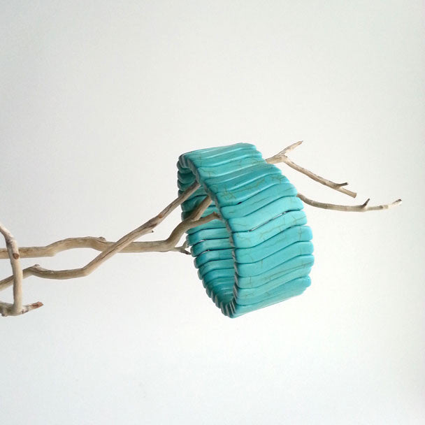 "BRACELET: NATURAL TURQUOISE STONE STRETCHY RIB CUFF BRACELET, 8"", HANDMADE AND AVAILABLE EXCLUSIVELY AT ANNA SEE"