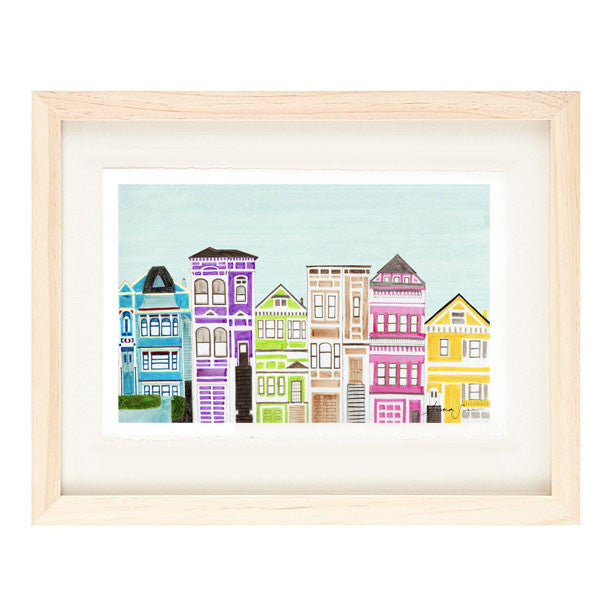 VICTORIAN HOUSES ILLUSTRATION GICLEE ART PRINT BY ANNA SEE