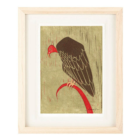 TURKEY VULTURE HAND-CARVED LINOCUT ILLUSTRATION ART PRINT BY ANNA SEE