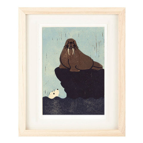 WALRUS AND SEAL HAND-CARVED LINOCUT ILLUSTRATION ART PRINT BY ANNA SEE