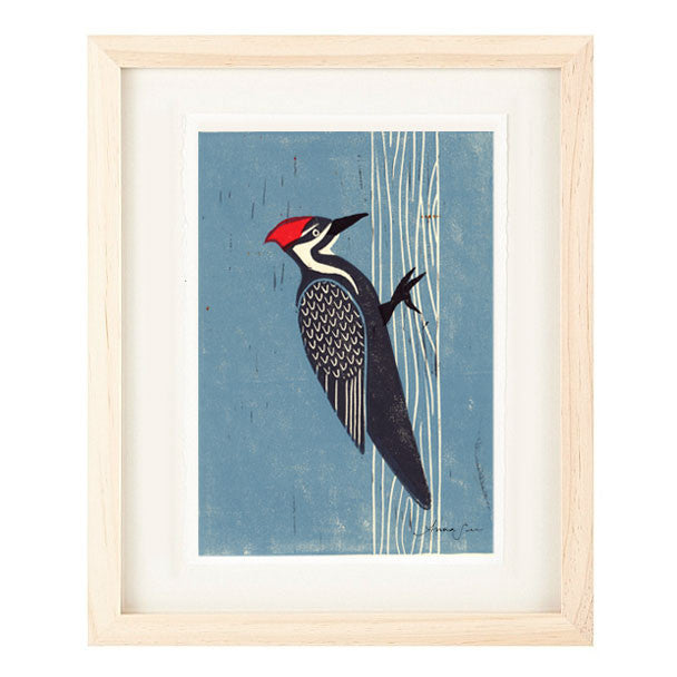 PILEATED WOODPECKER HAND-CARVED LINOCUT ILLUSTRATION ART PRINT BY ANNA SEE