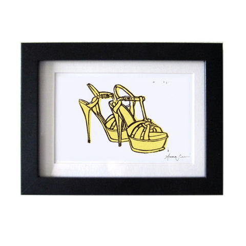 YSL TRIBUTE SANDALS HAND-CARVED LINOCUT ILLUSTRATION ART PRINT BY ANNA SEE