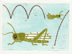GRASSHOPPERS HAND-CARVED LINOCUT ILLUSTRATION ART PRINT BY ANNA SEE