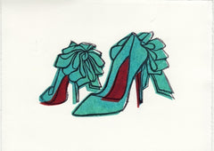 CHRISTIAN LOUBOUTIN ANEMONE BOW SHOES HAND-CARVED LINOCUT ILLUSTRATION ART PRINT BY ANNA SEE