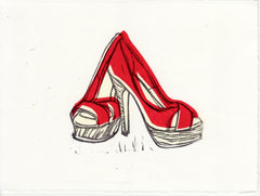 CHRISTIAN LOUBOUTIN PLATFORM PEEP TOE SHOES HAND-CARVED LINOCUT ILLUSTRATION ART PRINT BY ANNA SEE
