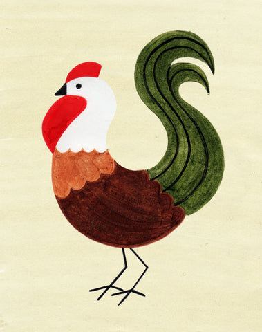 ROOSTER ILLUSTRATION GICLEE ART PRINT BY ANNA SEE