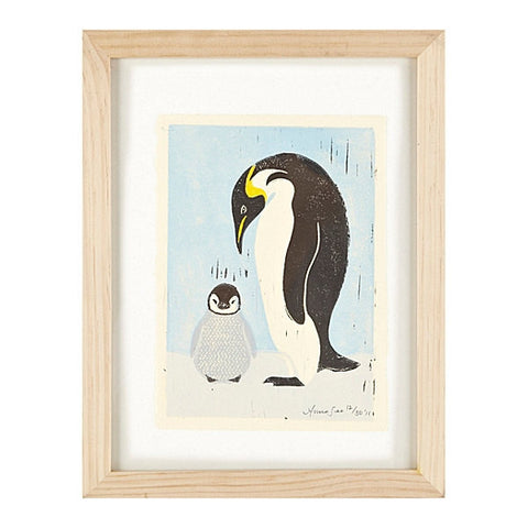 PENGUINS HAND-CARVED LINOCUT ILLUSTRATION ART PRINT BY ANNA SEE