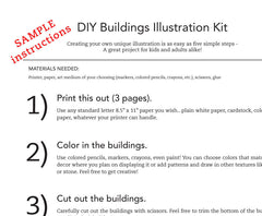 DIY SCANDINAVIAN BUILDINGS AND HOUSES PRINTABLE ILLUSTRATION ART CRAFT KIT PDF 8.5 x 11