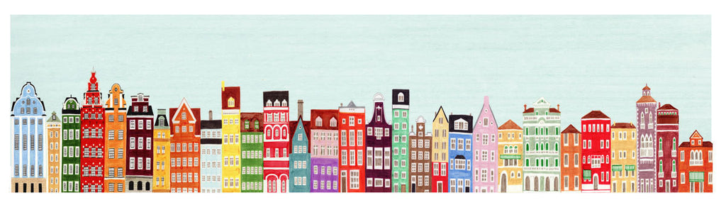 COLORFUL EUROPEAN BUILDINGS SKYLINE ILLUSTRATION GICLEE ART PRINT BY ANNA SEE