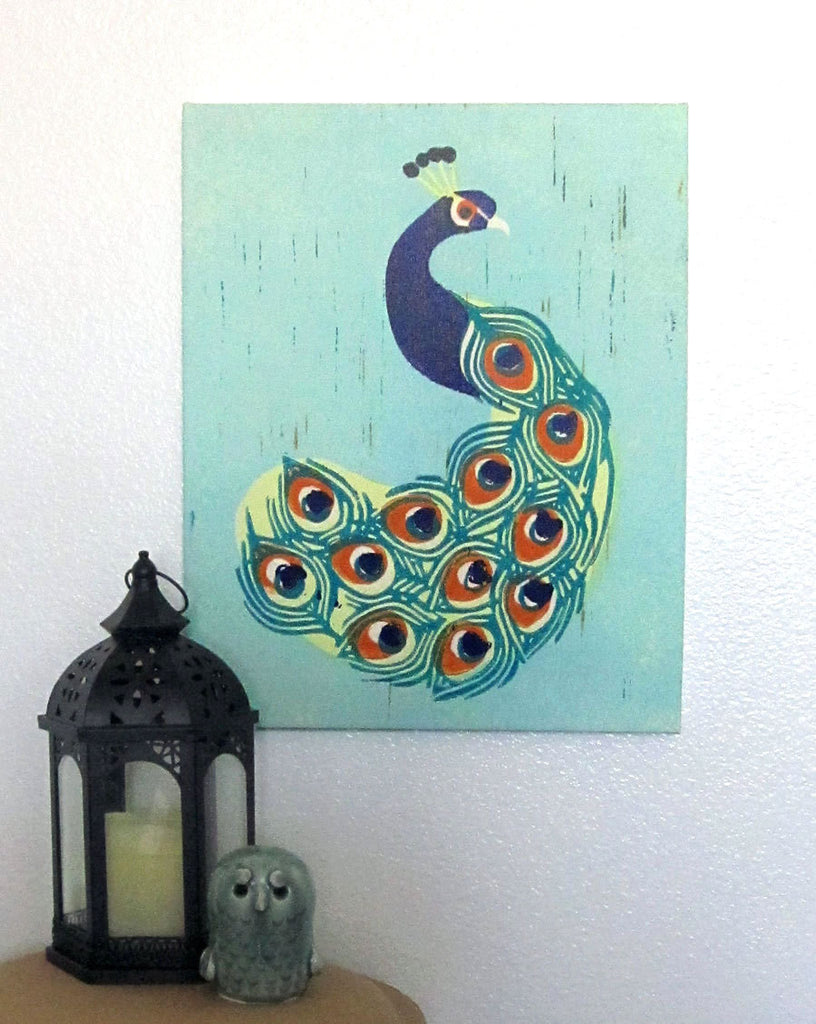 INDIAN PEACOCK LINOCUT ILLUSTRATION CANVAS WALL ART BY ANNA SEE