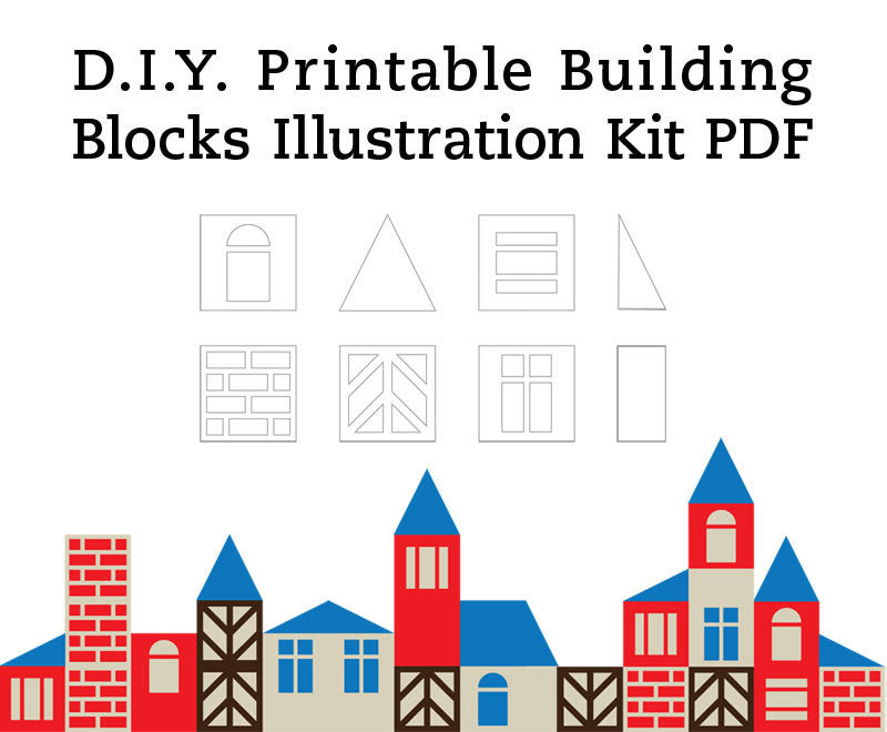 DIY SCANDINAVIAN BUILDING BLOCKS AND HOUSES GEOMETRIC PRINTABLE ILLUSTRATION ART CRAFT KIT PDF 8.5 x 11