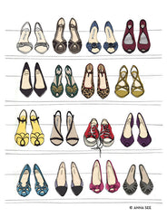 DESIGNER DREAM SHOE AND HANDBAG CLOSET ILLUSTRATION GICLEE ART PRINT SET BY ANNA SEE