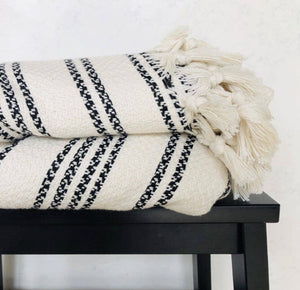 Turkish Blanket, Ivory and Black