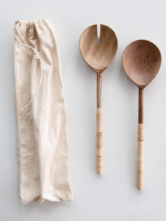 Rattan Wrapped Salad Servers