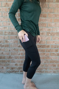 High Waist  7/8  Legging With Pocket