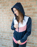 Chevron Colorblock Windbreaker Jacket