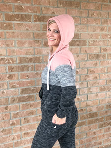 FLEECE COLOR BLOCK ZIP UP HOODIE AND JOGGER SET