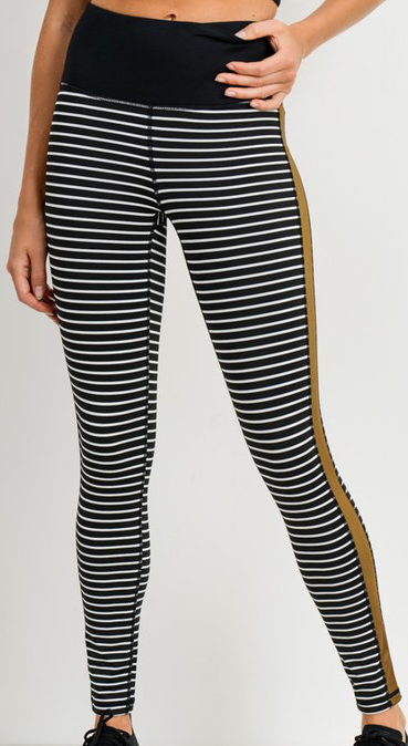 Striped Colorblocked High-waist Leggings