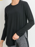 Side Slits Flowy Long Sleeve Top