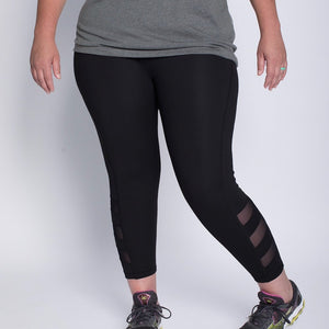 Triple Slanted Mesh Leggings