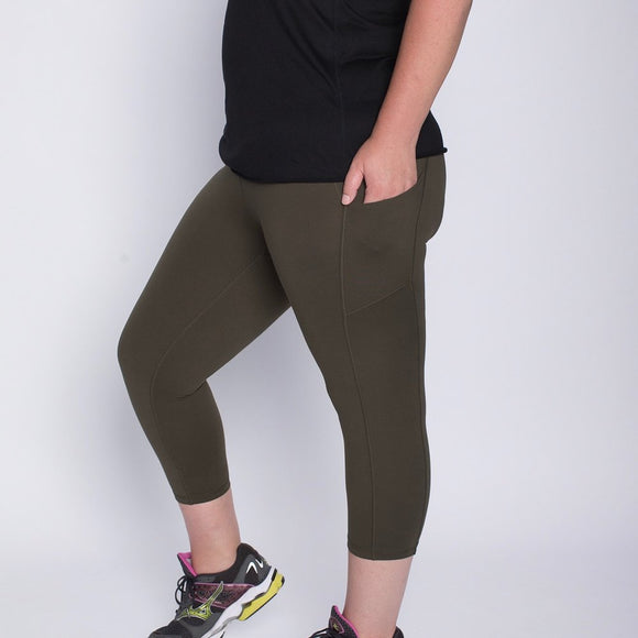 Capri Pants with Pockets (Olive)