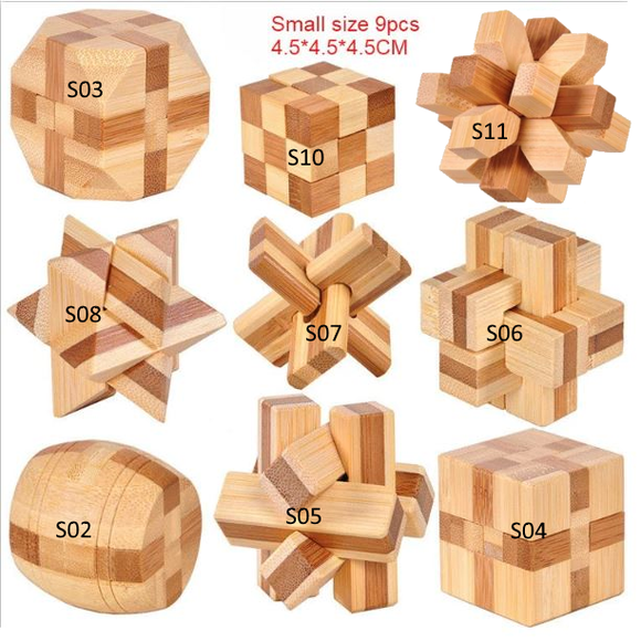 New Design Brain Teaser Kong Ming Lock 3D Bamboo Interlocking Puzzles