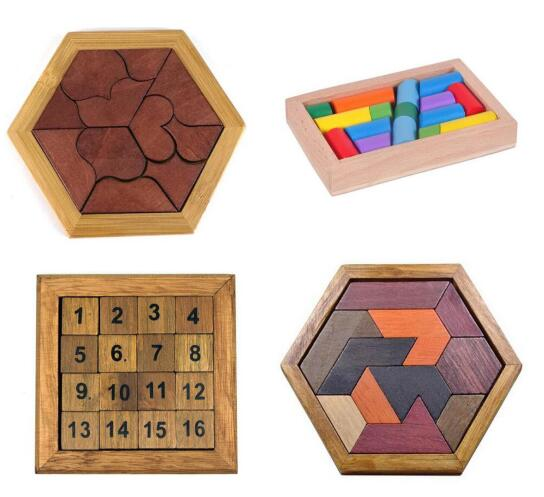 four puzzles shapes,sticks,numbers, tangram