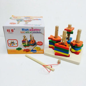 Wooden Colorful Shapes Stacking Toy