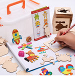 100 Pcs Drawing/Coloring Wooden Stencils For Children