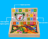 Arithmetic and Time Box Set Montessori Wooden Blocks Numbers Math Teach Toy