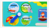 Wooden Montessori Toys Weather Seasons Calendar Clock Time