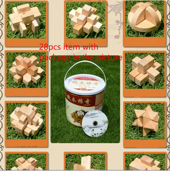 28PCS/LOT Wood and Metal Puzzles Small Size
